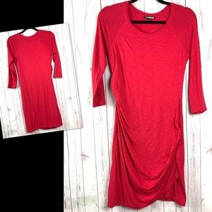 Express dress womens small red stretch knit